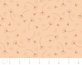 In the woods, 2241002, col 02, Camelot Fabrics, sage, white, light orange, multiple quantity cut in one piece, 100% Cotton