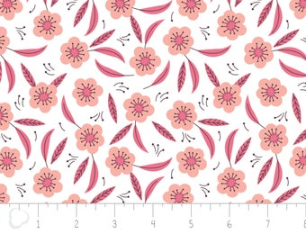 Captivate, flower, pink, white, 2240704, col 02, Camelot Fabrics, multiple quantity cut in 1 piece, 100% Cotton