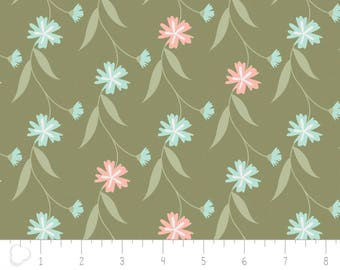 In the woods, 2241004, col 01, Camelot Fabrics, sage, white, brown, multiple quantity cut in one piece, 100% Cotton