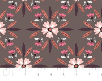 Captivate, flower, dark taupe, 2240703, col 03, Camelot Fabrics, multiple quantity cut in 1 piece, 100% Cotton