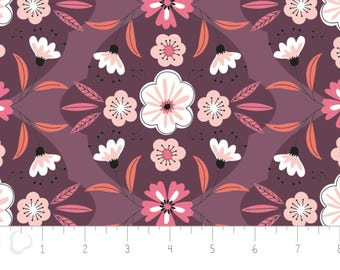 Captivate, flower, plum, 2240702, col 01, Camelot Fabrics, multiple quantity cut in 1 piece, 100% Cotton, (Reg 3.99)