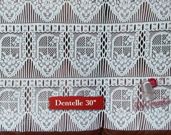 "Lace for door, White, 30"" (75cm), NO NEED for COUTURE, polyester, washable, decorative,"