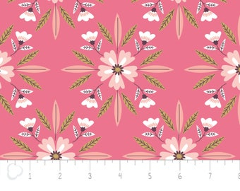 Captivate, flower, geranium, 2240703, col 02, Camelot Fabrics, multiple quantity cut in 1 piece, 100% Cotton, (Reg 2.99-17.99)