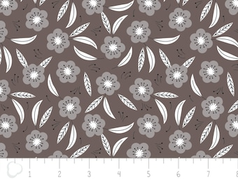 Captivate, flower, dark taupe, 2240704, col 03, Camelot Fabrics, multiple quantity cut in 1 piece, 100% Cotton