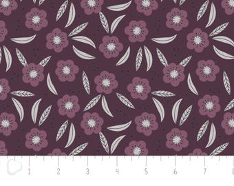 Captivate, flower, dark plum, 2240704, col 01, Camelot Fabrics, multiple quantity cut in 1 piece, 100% Cotton, (Reg 3.99 -17.99)