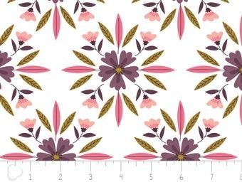 Captivate, flower, white, 2240703, col 01, Camelot Fabrics, multiple quantity cut in 1 piece, 100% Cotton, (Reg 2.99-17.99)
