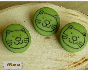 3 Buttons, 15mm, Cat, Green, Casein, Lucite, Vintage, 1980s, Basic Button, Solid Button, GR04