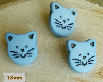 "3 + 3 = 6 Buttons, Cat, Blue, 1/2 "", 12mm, Polyester, Casein, Vintage, 1980, Fancy Button, Solid Button, BF50"