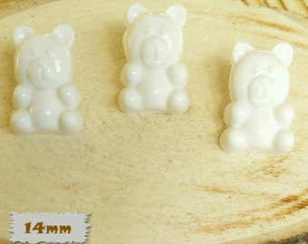 3 + 3 = 6 Buttons, Bear, WHITE, 14mm, Polyester, Casein, Vintage, 1980, Fancy Button, Solid Button, BF52
