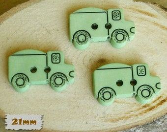 "3 Buttons, Truck, Green, 7/8 "", 21mm, Fancy Button, BF16, Fancy Button, 1980, Vintage, Casein"