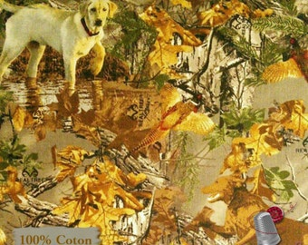 Hunting dog, pheasant, forest, 10065, Sykel Enterprises, Realtree, multiple quantity cut in one piece, Cotton