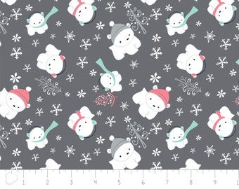 "Fat quarter, 18""X22"" = 45cm X 55cm, Flannel, Winter, gray, 6150018B, col 01, Camelot Fabrics"
