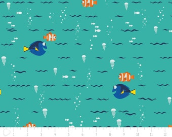 Disney, Finding Dory, swimming, 85170103, col 02, Camelot Fabrics, Camelot Fabrics, multiple quantity cut in one piece, 100% Cotton