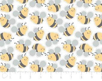"Fat quarter, 18""X22"", (45cm X 55cm), Flannel, Bumblebee, white, 2150048B, col 02, Camelot Fabrics"
