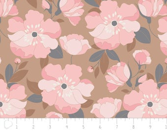 END OF BOLT, With Love, flower, petals, caramel, 4142001, col 03, Camelot Fabrics,