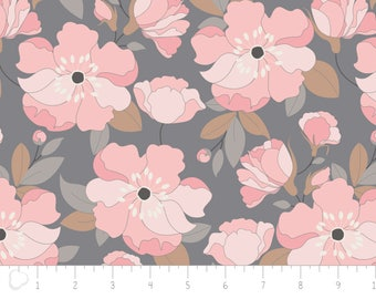 With Love, flower, petals, gray, 4142001, col 02, Camelot Fabrics, 100% Cotton