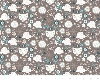 END OF BOLT, Bear, snowflake, Snow Fall, Camelot Fabric, brown,