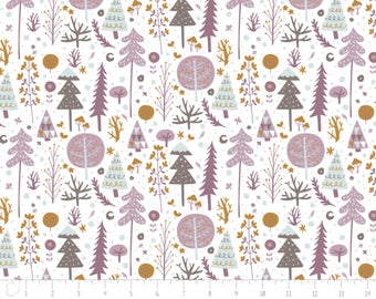 END OF BOLT, Trees, lilac, Snow Fall, Camelot Fabric, lilac,