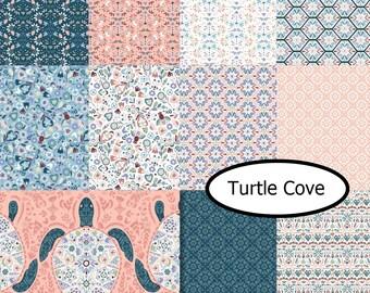 Bundle 11 FQ, Turtle Cove, Camelot Fabrics, 100% coton