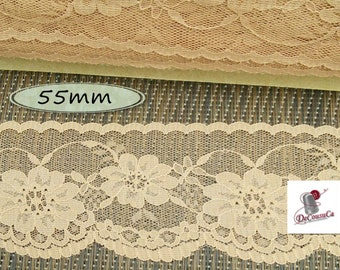 "Lace trim, Dark Beige, 55mm, (2 1/4""), polyester, vintage, 1980, sold by the meter, DT35"