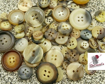 70%, 100 random buttons, Marbled, 1960-2000, vintage, 10-25mm, 2-4 holes, decorative, solid, durable, photo by way of example, GR08