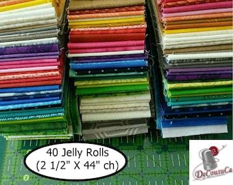 """50%, 40 Jelly Rolls, 2 1/2"""" X 44"""" each, 40 colors, Designer Cotton, colors mixtes"""