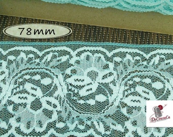 "Lace trim, Lace, Aqua, 78mm, (3""), polyester, vintage, 1980, sold by the meter, DT36"