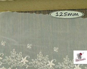 "Lace trim, Lace, Transparent, Beige, 125mm, (5""), polyester, vintage, 1980, by the meter, DT38"