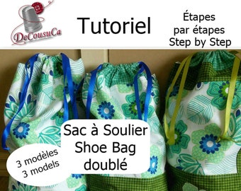 PDF, Tutorial, Shoe bag, French, English, inch, cm, 3 models, bonus: badges, explained step by step photos, pattern to download