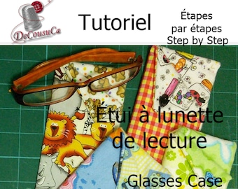 PDF, Tutorial, French, English, GLASSE CASE, doubled and interleaved, explained step by step in photos, Downloadable template