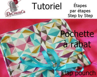 PDF, Tutorial, French, English, RABAT POUCH, doubled and interleaved, explained step by step in photos, Downloadable template