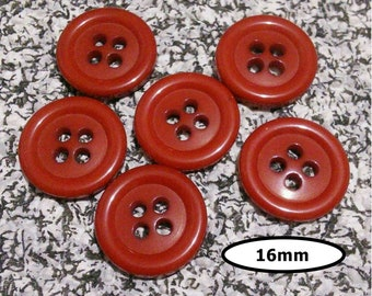 6 buttons, 16 mm, RED, 4 holes, vintage button, BTN 62B