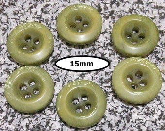 6 buttons, 15 mm, SHADE OLIVE GREEN , button 4 holes, Btn 84