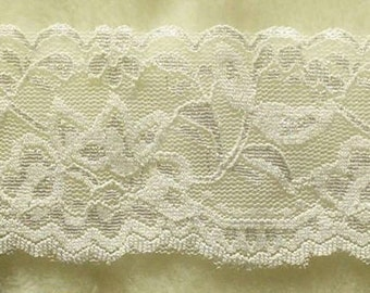 DT32, Lace elastic, white, 7cm, 2 1/2 inch, at the metre (39 inch)