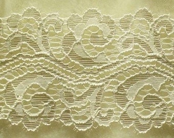 DT33, Lace elastic, ivory, 7cm, 2 1/2 inch, at the metre (39 inch)