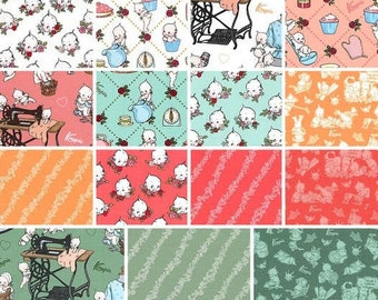 Bundle of 15 prints of fish 100% coton, variable sizes- Sew Kewpie of Riley Blake Designs