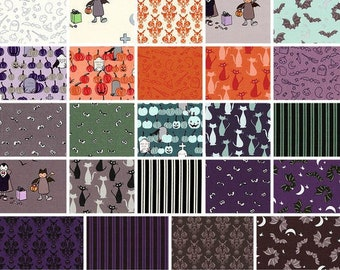 Bundle, 24 prints, HALLOWEEN, bone, cat, Spooky Hallow de Riley Blake