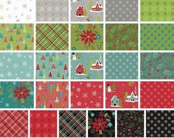 Bundle of 26 prints, Christmas fabric, variable sizes - Snowed In of Riley Blake Designs