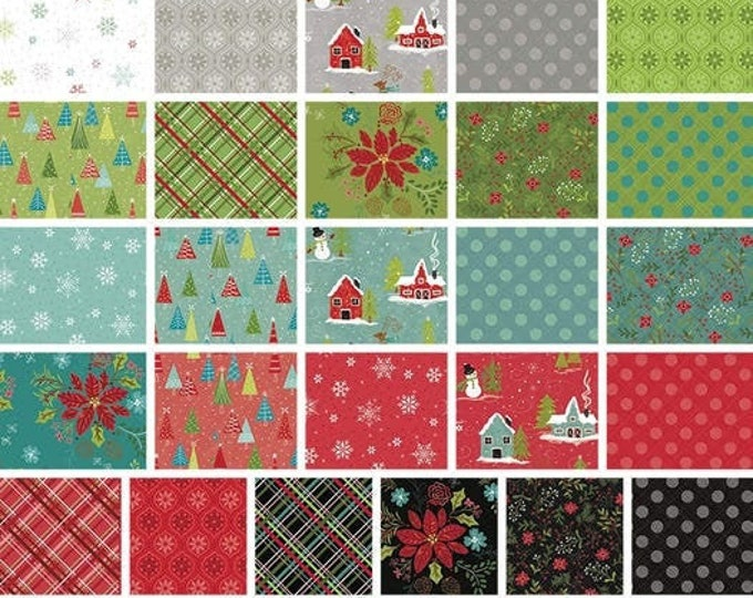 Featured listing image: Bundle of 26 prints, Christmas fabric, variable sizes - Snowed In of Riley Blake Designs