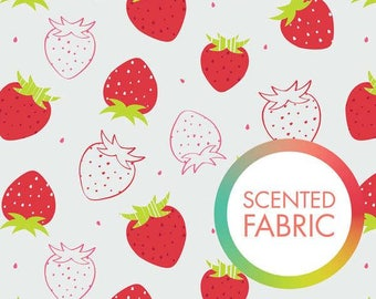 END OF BOLT, Strawberry, Scented Collection, 2142205SC, Camelot Fabrics, multiple quantity cut in one piece, 100% Cotton