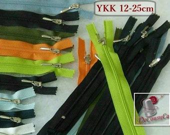 YKK, 12cm à 25cm, Color choice, YKK, varied color, nylon, perfect for wallets, clothing, repair, creation, Z100