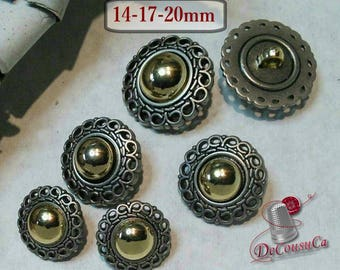 6 buttons Silver and gold,  14mm, 17mm,  20mm, silver imitation,  gold métal, BM175