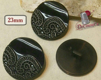 4 buttons, BLACK, 2 X 23mm, 2 X 16mm, vintage button, antique button, BA70