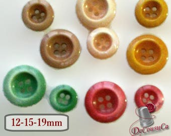 10 Buttons, 4 holes, 12mm, 15mm, 19mm, brown, peach, red, green, corn, resin, BA33