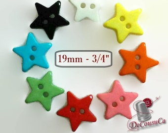 12or 25 Buttons, Star, 19mm, 7L, (3/4 inch), buttons Stars, 2 holes, vintage, BF22