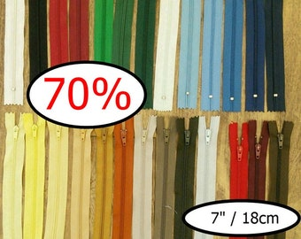 70%, 3 ou 25 zippers, (Reg 3.60 - 31.20), 18cm, KKF, Q, C, S, Color choice, 7 inchs, varied color, nylon, perfect for wallets, clothing, Z09