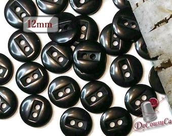 12 Buttons, 12mm, black, plastic, résin, BA54