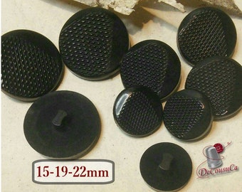 6 buttons BLACK, 15mm, 19mm, 22mm, plastic, BA73