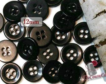 12 Buttons, 12mm, black, plastic, résin, BA57