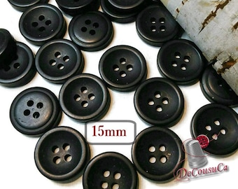 12 Buttons, 15mm, black, 4 holes, BA61